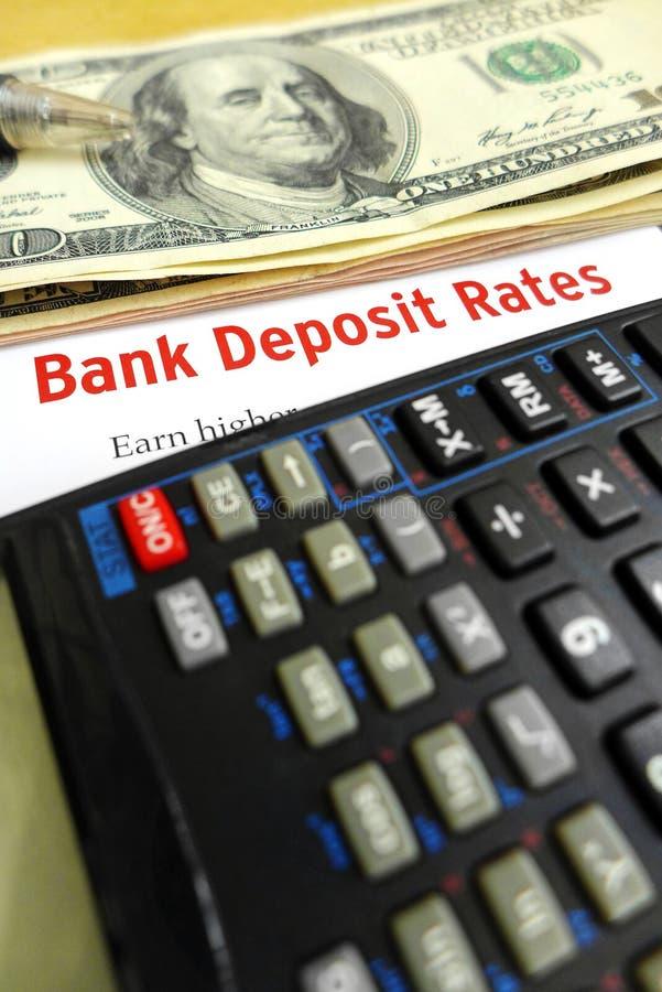 Studying bank deposit rates stock photo
