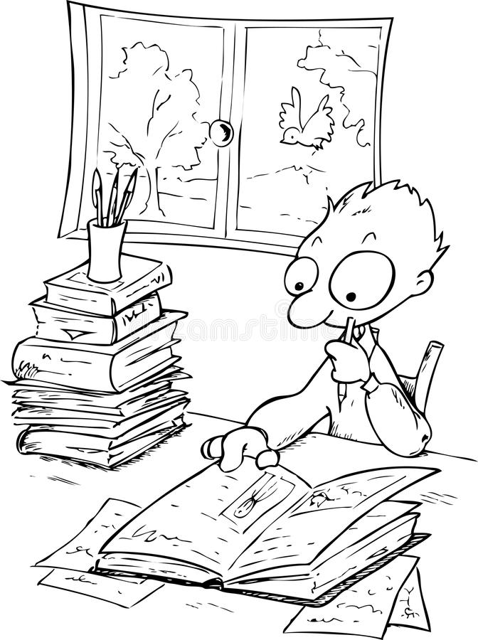 Download Studying Boy-bw Illustration Stock Vector - Image: 29676009