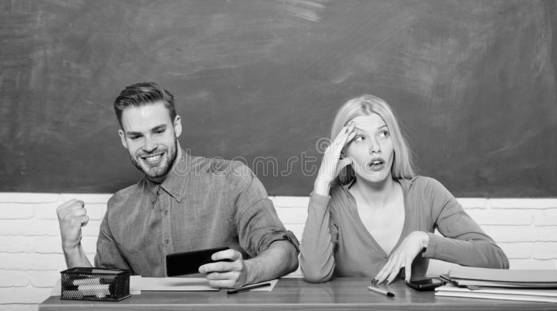 Studying in college or university. Friends students studying university. College fun. Modern education. Having fun in stock image