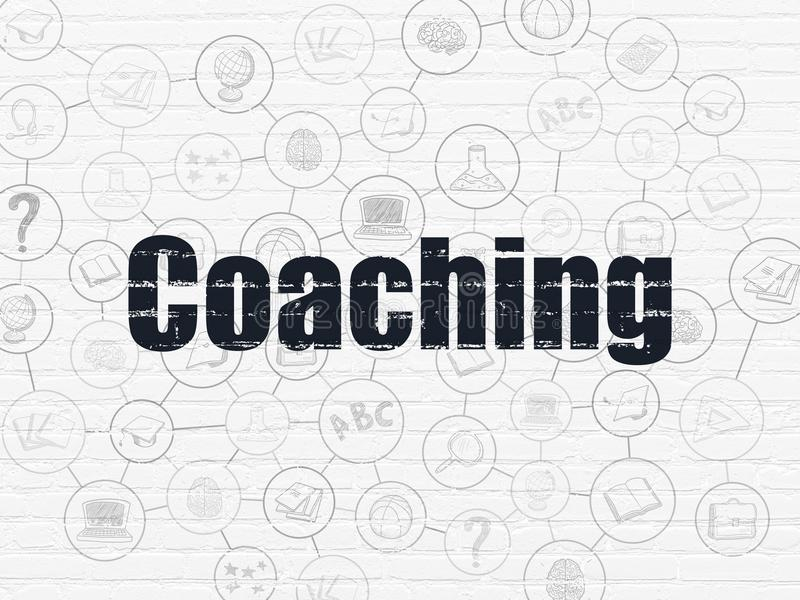 Studying concept: Coaching on wall background. Studying concept: Painted black text Coaching on White Brick wall background with Scheme Of Hand Drawn Education royalty free illustration