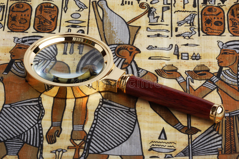 Download Studying Of The Egyptian Papyrus Stock Image - Image of africa, gold: 4005607