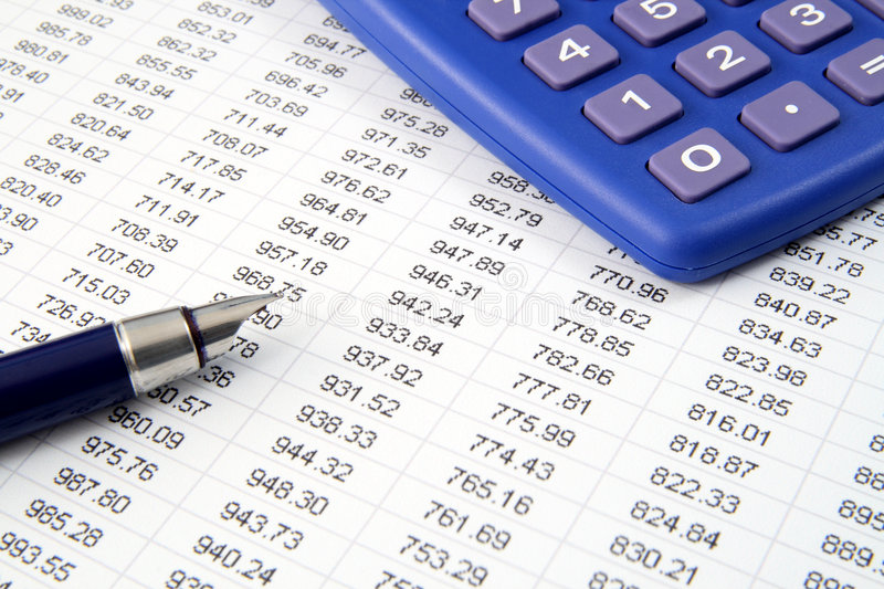 Studying financial numbers. royalty free stock photography