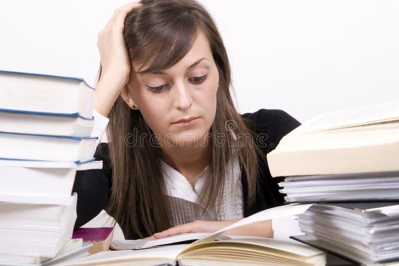 Download Studying girl stock image. Image of background, homework - 9596509
