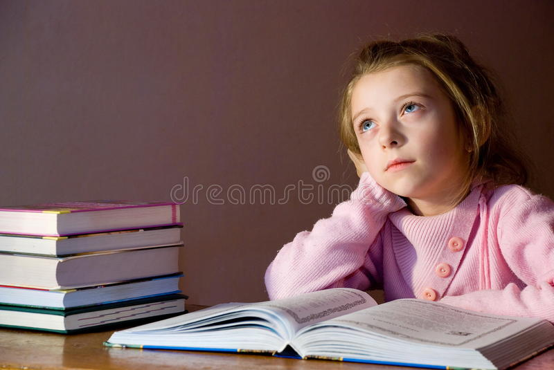 Download Studying girl & books stock image. Image of interest - 12886593