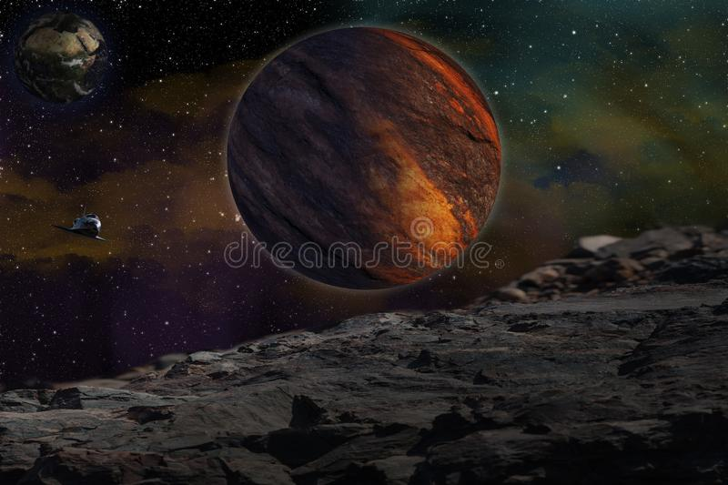 Studying of others planet stock images