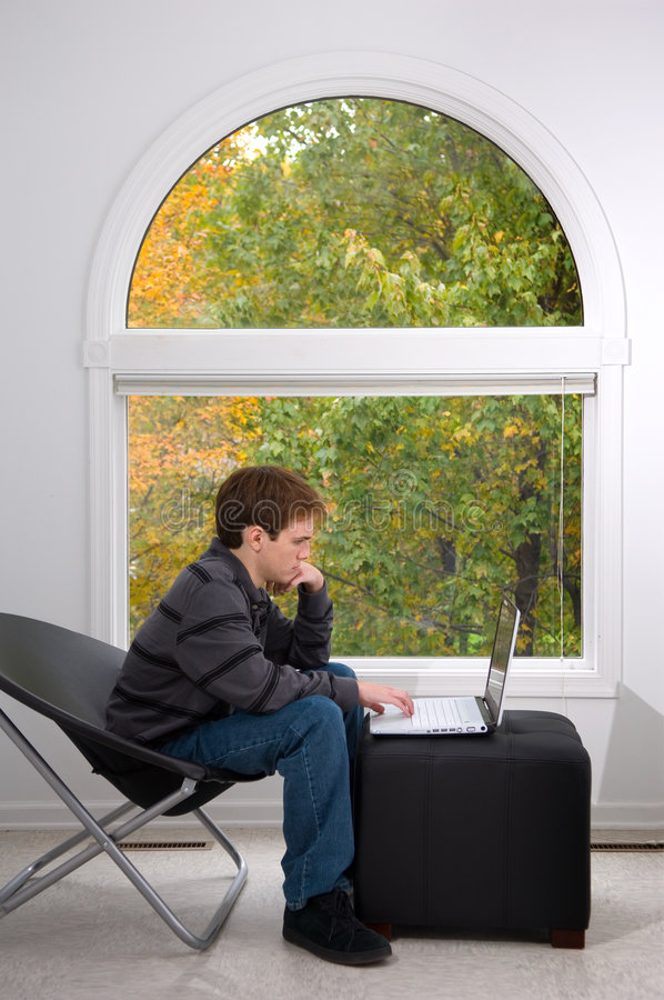 Download Studying by the window stock photo. Image of fall, leaves - 1415482
