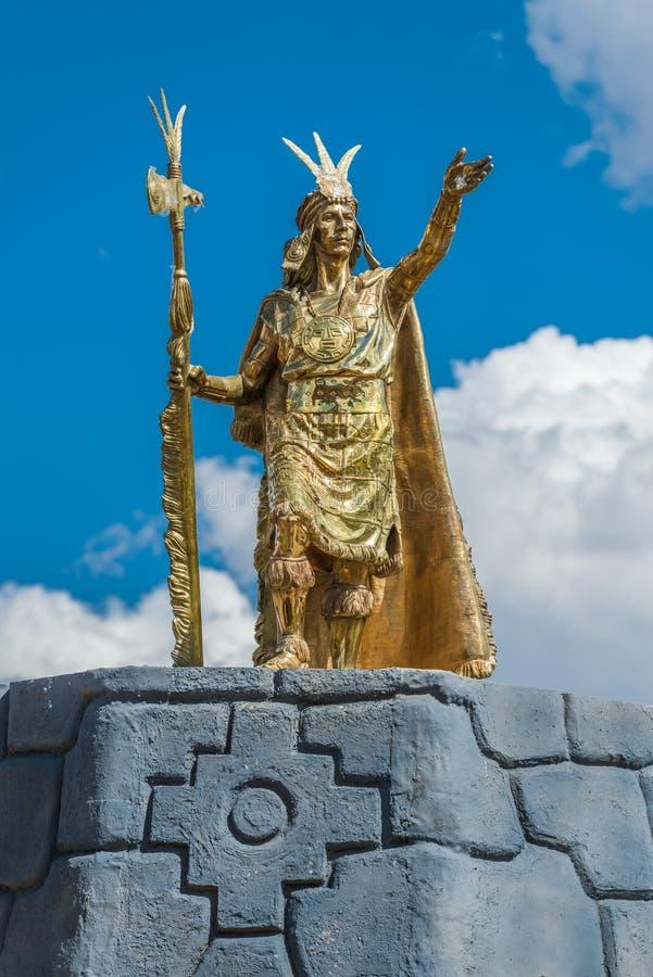 Stue d'Inca de Pachacutec en Plaza de Armas de Cuzco Pérou image stock