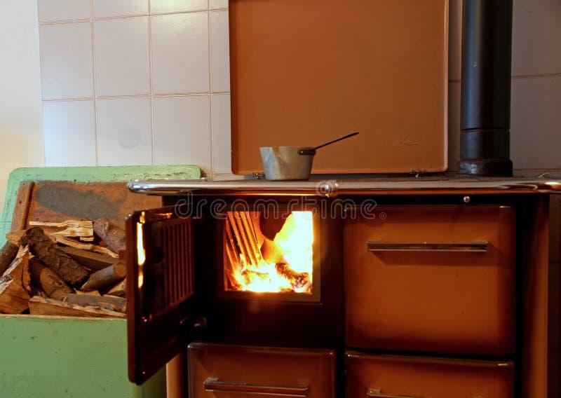 Stufa bruciante di legno in una cucina di una casa della for Un costo di costruzione della casa di legno
