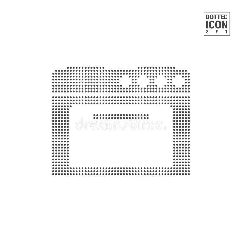 Stufa di cucina Dot Pattern Icon Icona punteggiata di gas o elettrico del fornello isolata su bianco Fondo di vettore, modello di illustrazione di stock