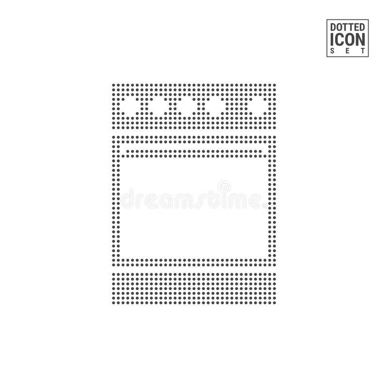 Stufa di cucina Dot Pattern Icon Icona punteggiata di gas o elettrico del fornello isolata su fondo bianco Icona o modello di vet illustrazione vettoriale