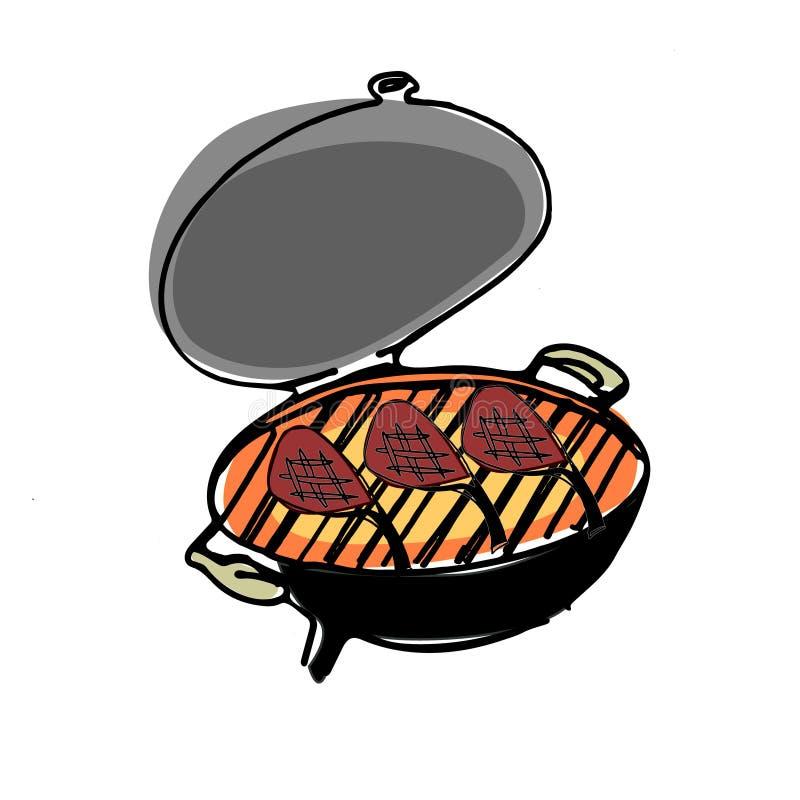 Stufa disegnata a mano del BBQ con grigliare carne illustrazione di stock