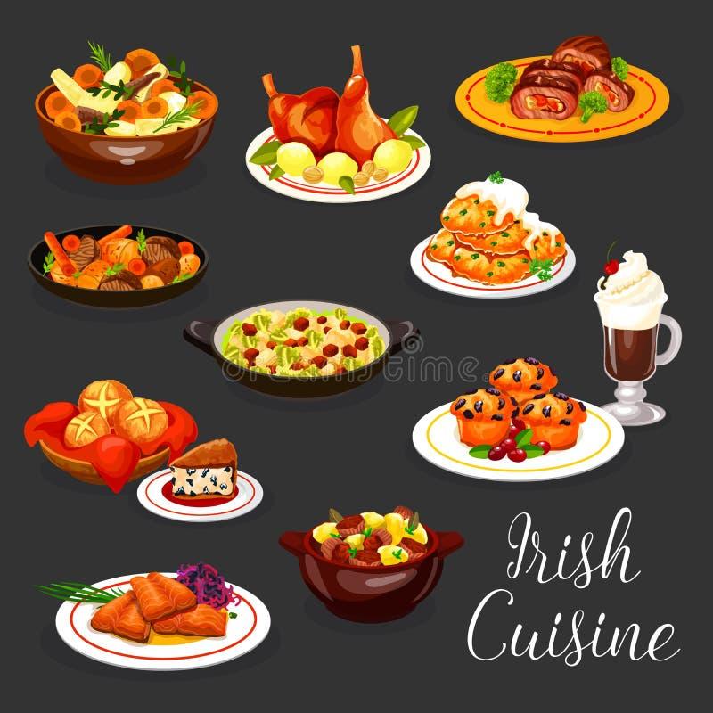 Stufato della carne di cucina e pesce irlandesi, caffè, dessert royalty illustrazione gratis