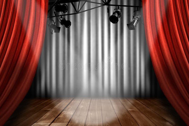 Stufe-Theater-Stufe mit Scheinwerfer-Leistung Lig stockbild