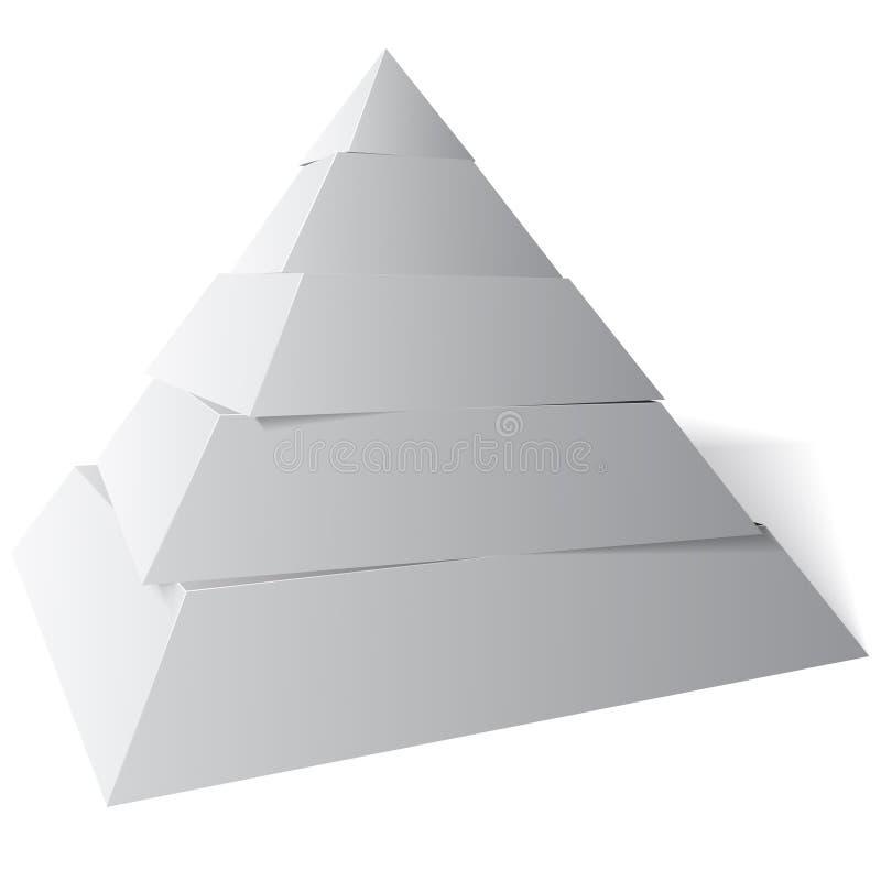 Stufen der vektorpyramide-fünf, Abbildung 3d lizenzfreie abbildung