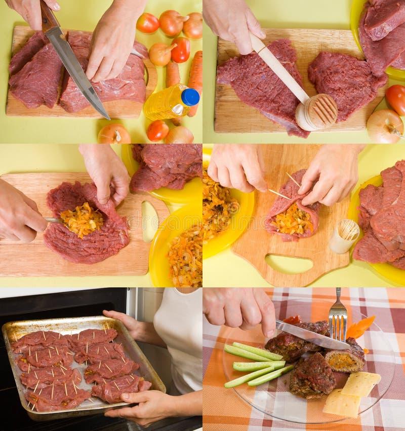 Stufen des Kochens des angefüllten Rindfleisches lizenzfreie stockbilder