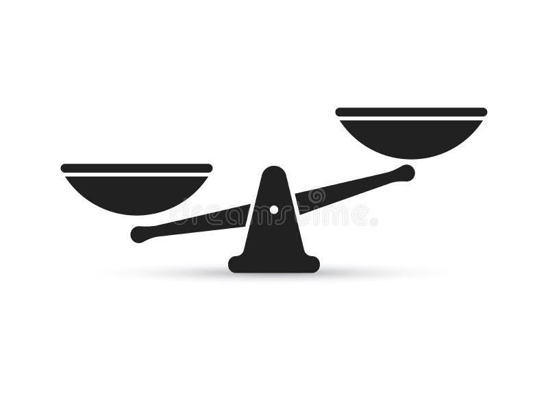 Stufen Sie Vektorikone von Gewichts- oder Gerechtigkeitsskalen ein lizenzfreies stockbild
