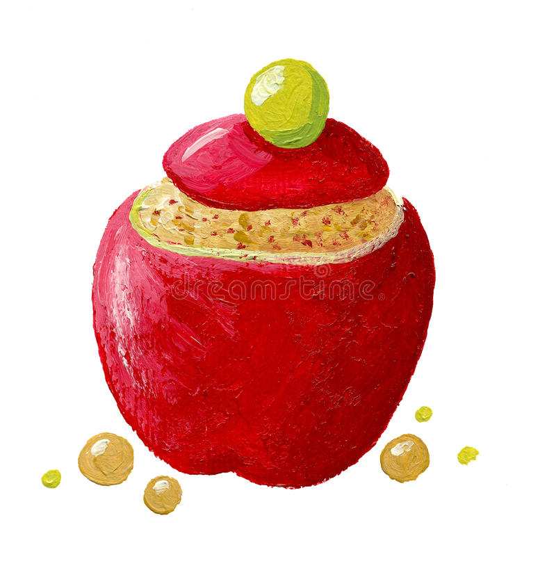 Stuffed apple. Acrylic illustration of stuffed apple vector illustration