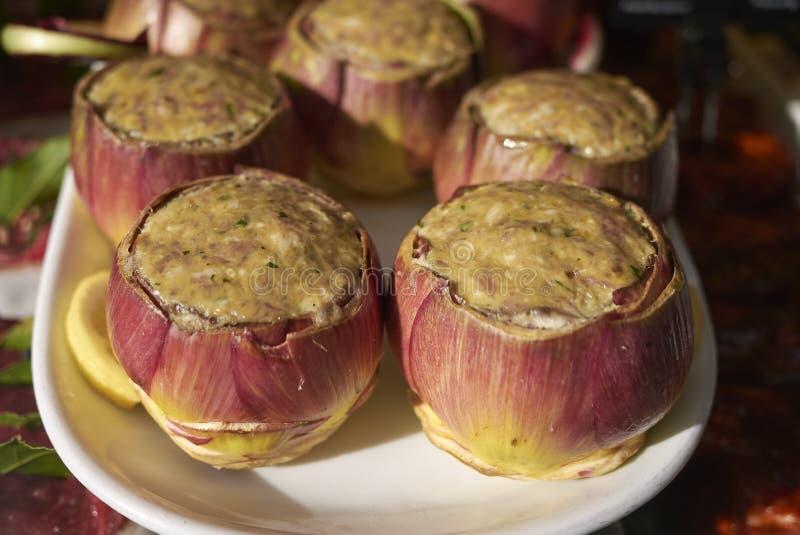 Stuffed artichokes on a layer stock photo