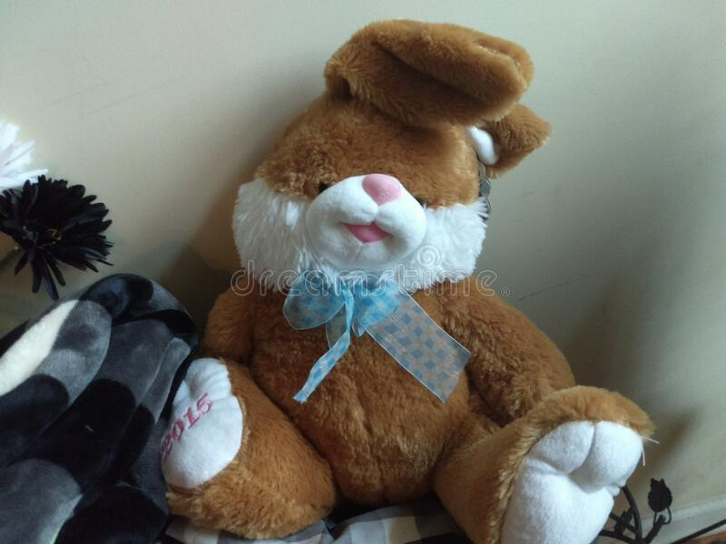 Stuffed bunny rabbit with blue ribbon for Easter royalty free stock images