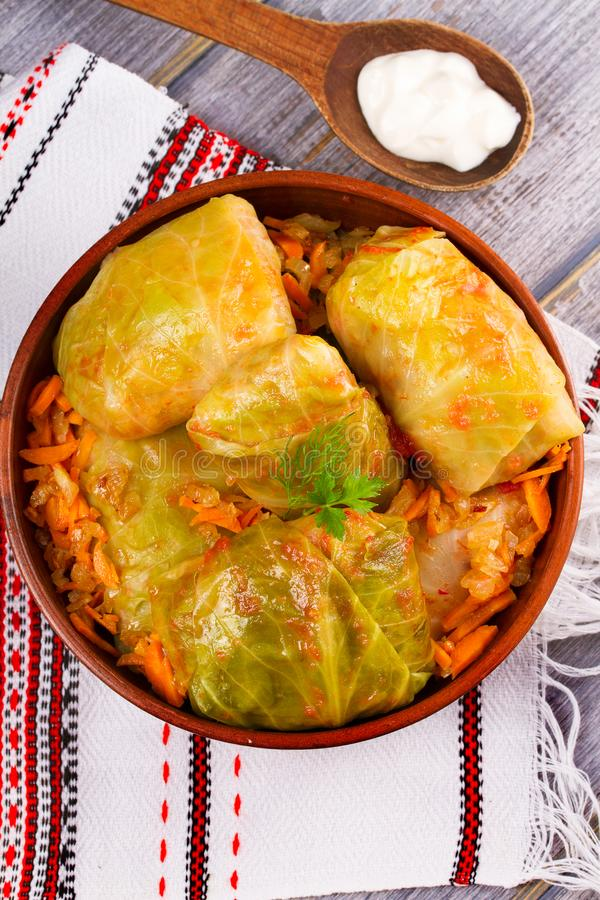 Stuffed cabbage leaves with meat. Cabbage rolls with meat, rice and vegetables. Dolma, sarma, sarmale, golubtsy or golabki. Stuffed cabbage leaves with meat royalty free stock image