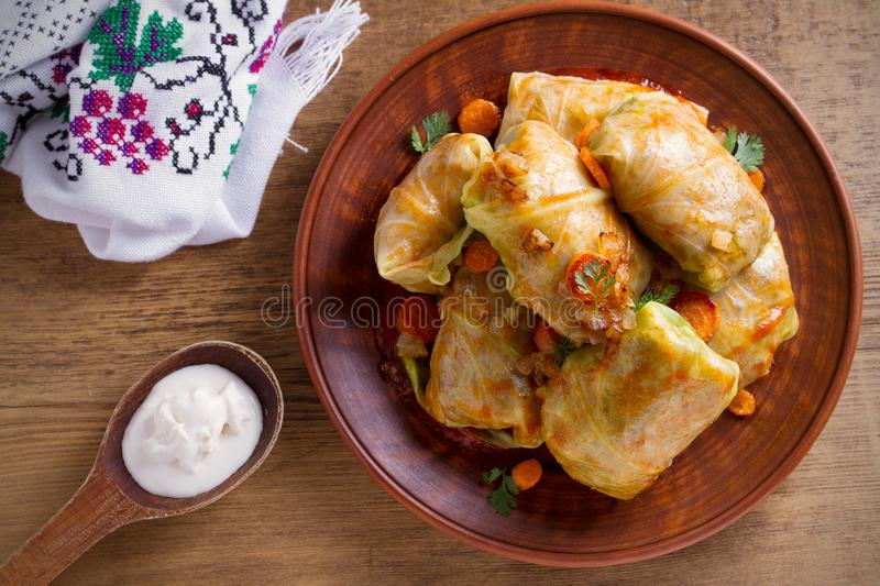 Stuffed cabbage leaves with meat, rice and vegetables. Chou farci, dolma, sarma, sarmale, golubtsy or golabki - popular dish in ma. Ny countries. overhead stock images