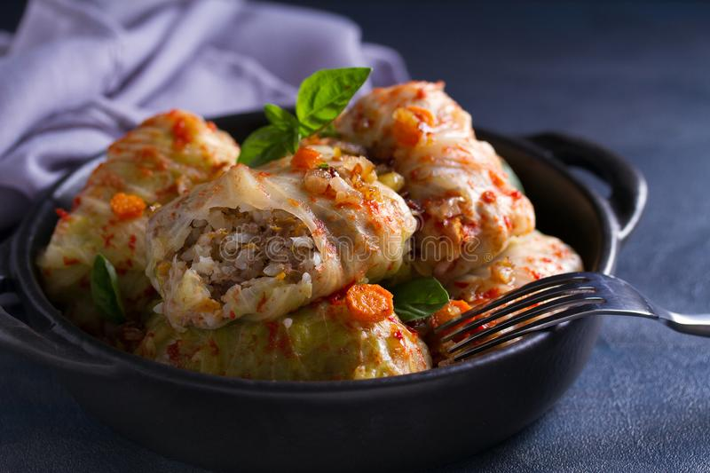 Stuffed cabbage leaves with meat, rice and vegetables. Chou farci, dolma, sarma, sarmale, golubtsy or golabki - popular dish. In many countries royalty free stock photography