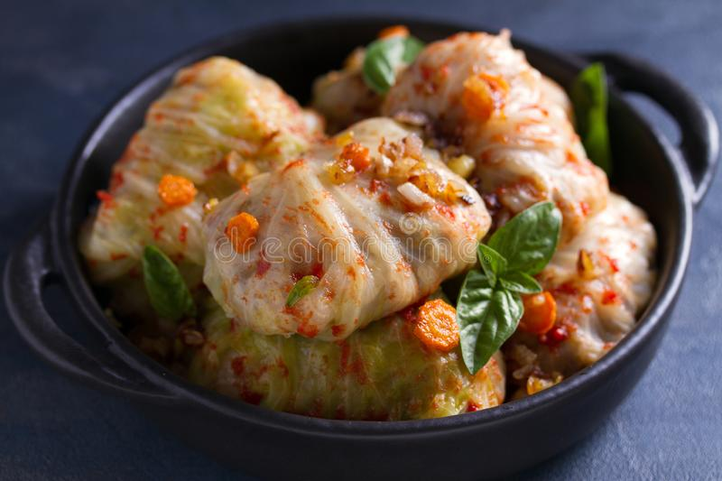 Stuffed cabbage leaves with meat, rice and vegetables. Chou farci, dolma, sarma, sarmale, golubtsy or golabki - popular dish. In many countries stock images