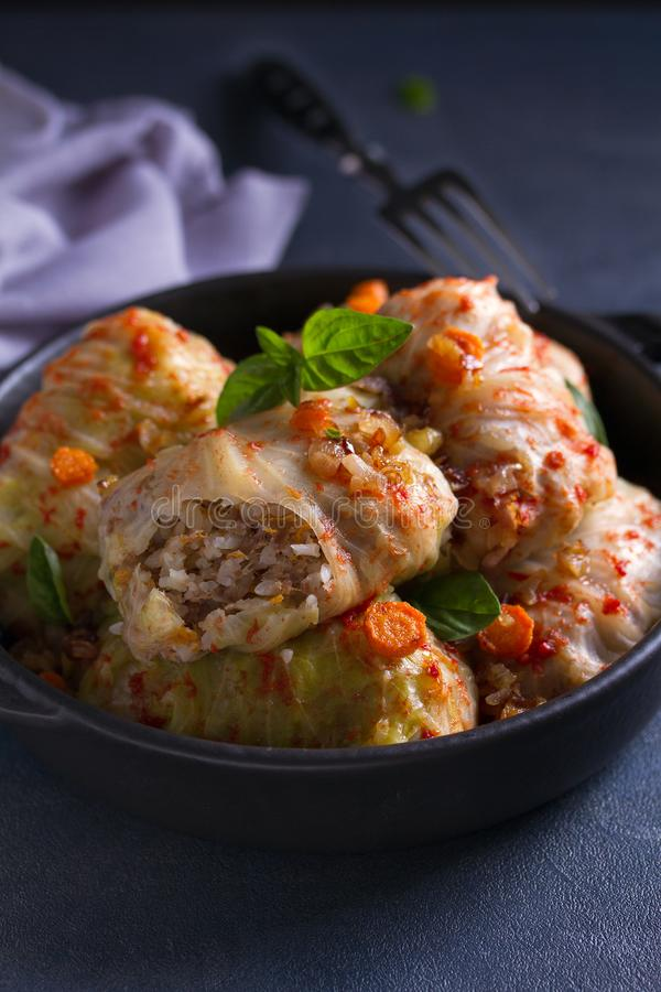 Stuffed cabbage leaves with meat, rice and vegetables. Chou farci, dolma, sarma, sarmale, golubtsy or golabki - popular dish. In many countries royalty free stock image