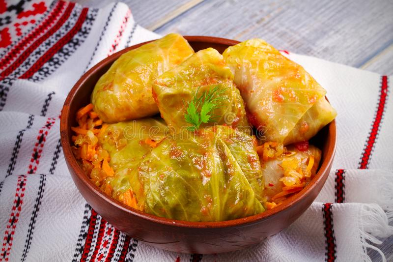 Stuffed cabbage leaves with meat, rice and vegetables. Chou farci, dolma, sarma, sarmale, golubtsy or golabki stock photo