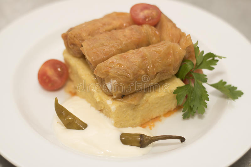 Stuffed cabbage leaves with polenta stock photo