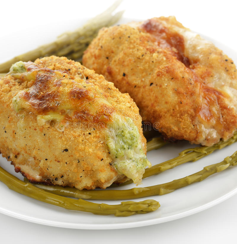 Stuffed Chicken Breasts. Chicken Breasts Stuffed With Broccoli And Cheese And Bacon And Cheese royalty free stock photo