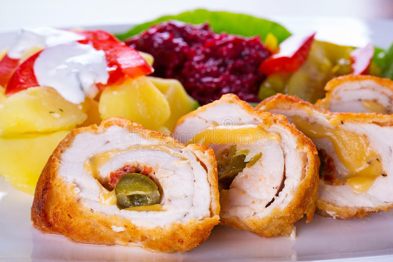 Download Stuffed chicken rolls stock image. Image of breast, baked - 33864317