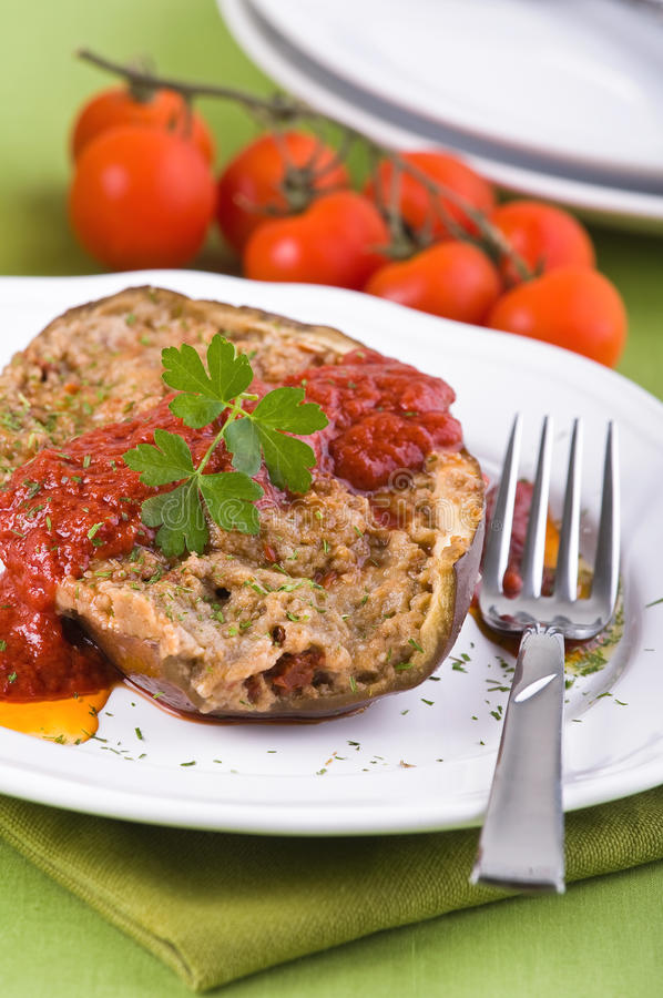 Stuffed eggplant. royalty free stock images