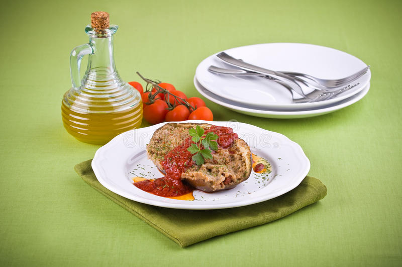 Stuffed eggplant. stock images
