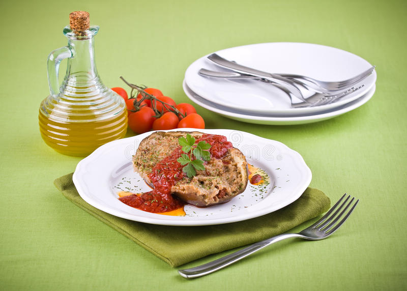 Stuffed eggplant. stock image