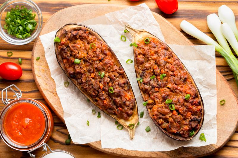 Stuffed eggplant, aubergine, ground beef, pork, vegetables, toma stock photography