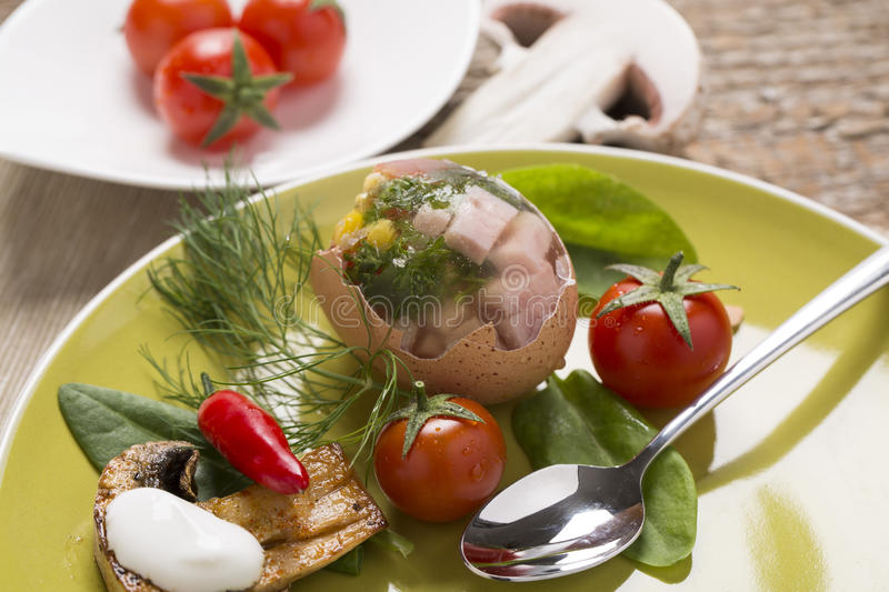 Stuffed eggs with fresh vegetables stock photos
