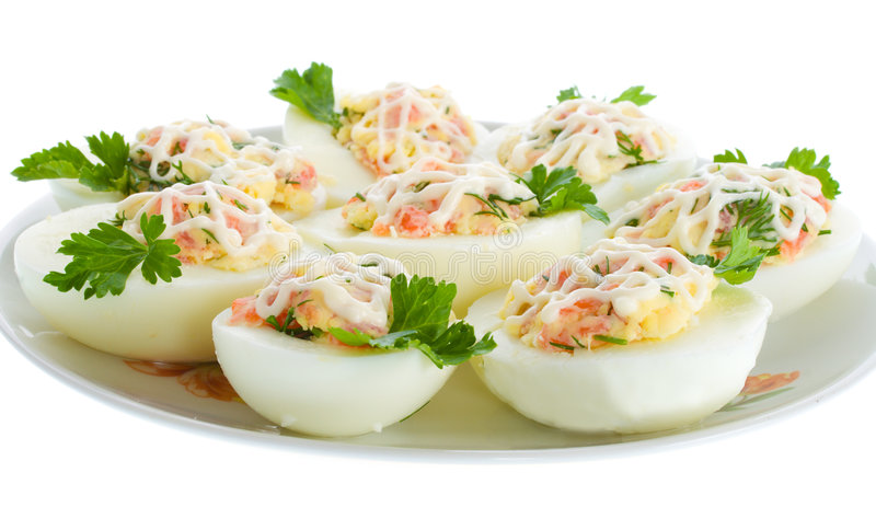 Stuffed eggs with trout royalty free stock image