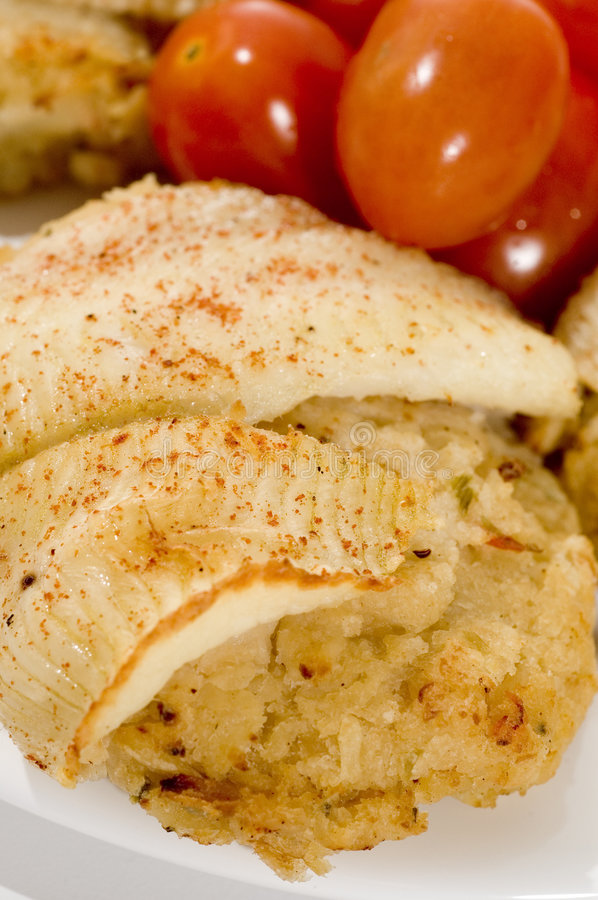 Stuffed fillet of sole stock photos