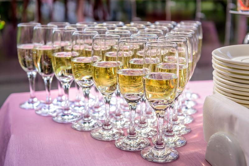 Stuffed glasses with champagne stand in rows on wedding table, close up. Welcome drinks, festive banquet, reception stock photography