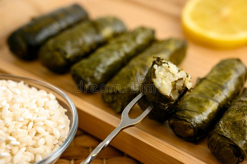 Stuffed grape leaves. Delicious stuffed grape leaves the traditional dolma of the mediterranean cuisine on wooden tray with lemon slice and small glass bowl of stock photos