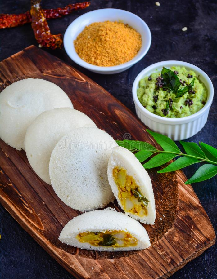 Stuffed Idli. South Indian Breakfast stuffed Idli Sambhar royalty free stock photography