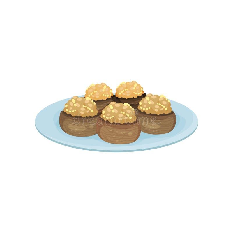 Stuffed mushrooms on blue plate. Tasty snacks. Appetizing food for festive banquet. Flat vector design. Stuffed mushrooms on blue plate. Tasty snacks. Appetizing stock illustration