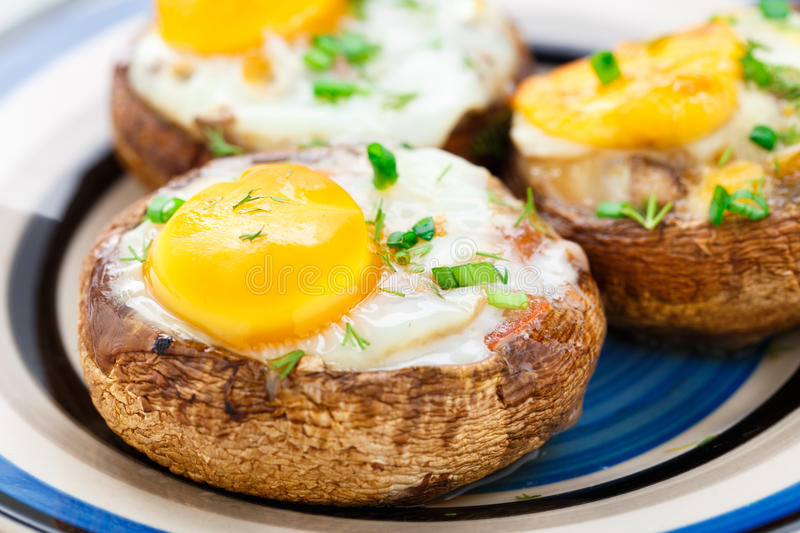 Stuffed mushrooms with eggs royalty free stock photos