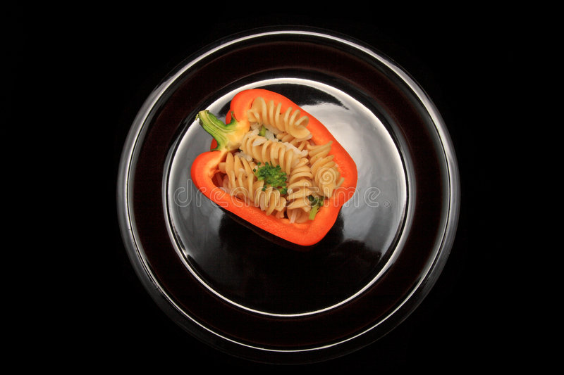 Stuffed pepper on plate royalty free stock photography
