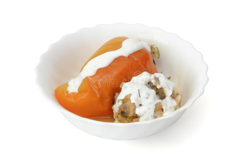 Download Stuffed Pepper With Sour Cream Royalty Free Stock Images - Image: 26572569