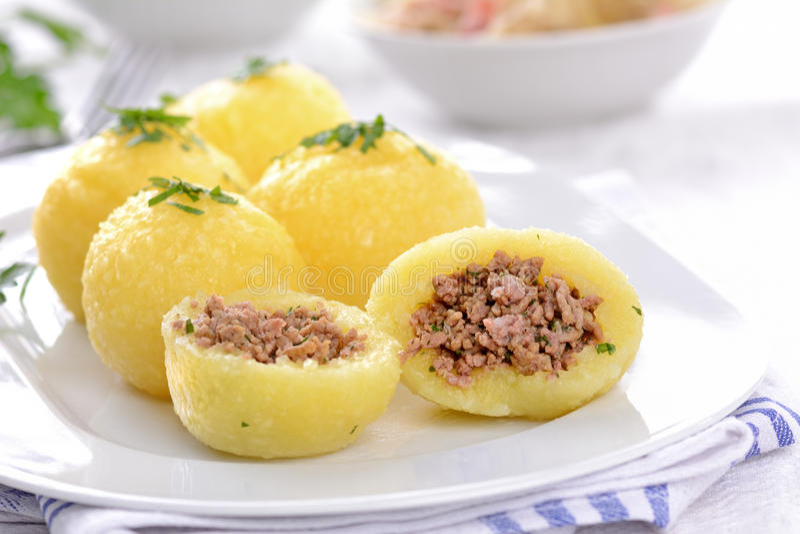 Stuffed potato dumplings stock photos