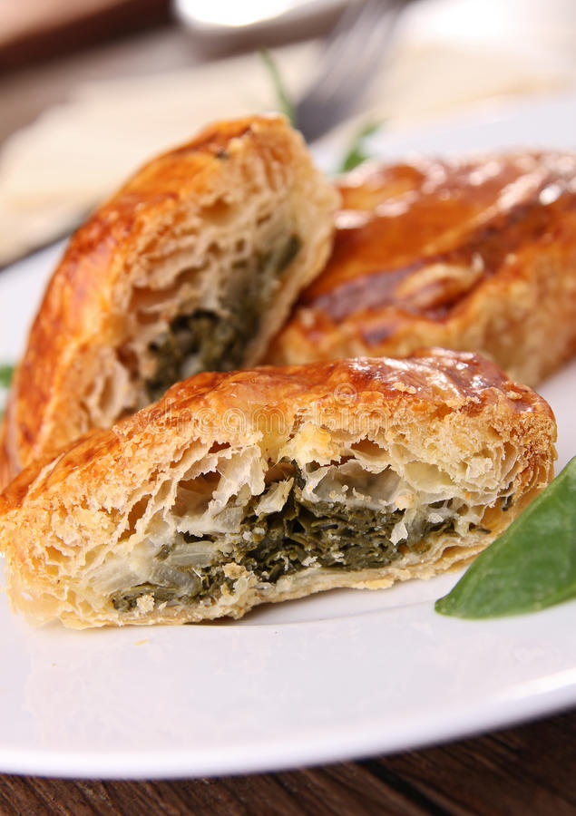 Download Stuffed puff with spinach stock photo. Image of golden - 22296812