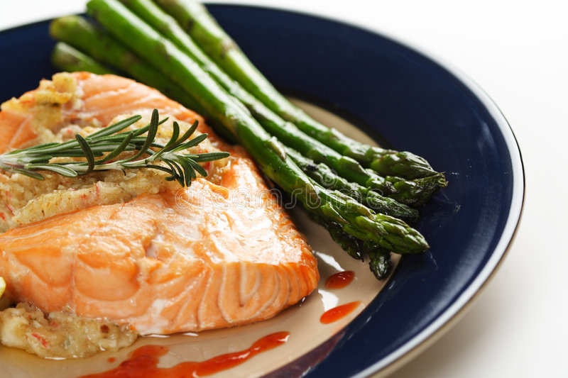 Download Stuffed salmon stock photo. Image of salmon, cuisine, asparagus - 1585598
