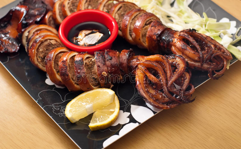Stuffed Squid Calamari Platter stock photos